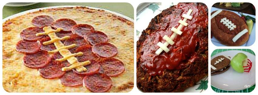 Left to right: Kickoff Pizza , Touchdown Meatloaf , Football Chili ...