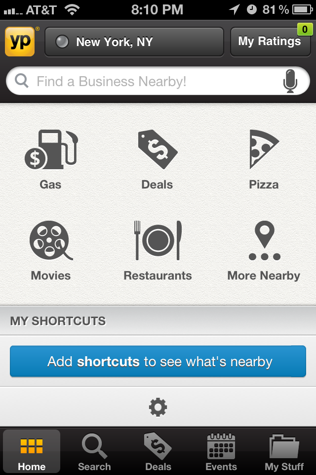 screenshot of YP App